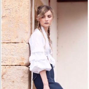 Zara Woman Poplin Shirt Pleated Sleeves White Top
